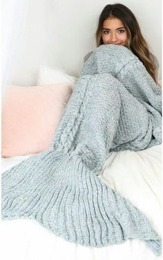 A Crocheted / Knitted Mermaid Tail (aka Blanket) Let's be honest. We ALL secretly want one of these! THE WHOOT has a blog post dedicated to a range of free mermaid tail patterns (both knit and crochet) through the link. Source:...