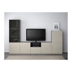 BESTÅ TV storage combination/glass doors, black-brown, Selsviken high-gloss/beige smoked glass black-brown/Selsviken high-gloss/beige smoked glass drawer runner, soft-closing 300x40x192 cm