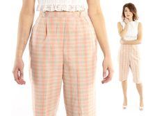 $56, Vintage 50s Plaid Shorts High Waisted Bermuda Capri Cigarette Pants Coral Gray Clam Diggers 1950s Medium M Pinup Rockabilly by ScarletFury on Etsy