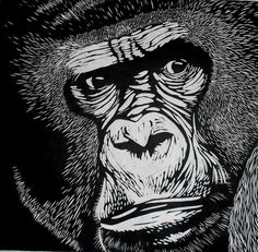 Gorilla Linocut Print by Rowanne on Etsy, $100.00