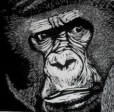 Gorilla Linocut Print by Rowanne on Etsy, $100.00