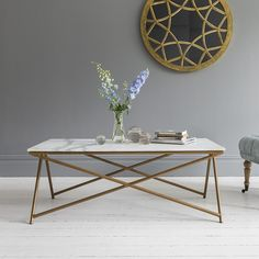 Stellar White Marble Coffee Table - Due end March £349 W120 x D60 x H46cm