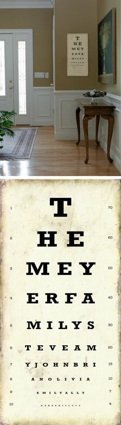 Personalized Family Eye Chart sign cutomized with by DoBoAndCo, $85.00