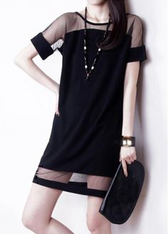 Alluring Mesh Splicing Round Neck Short Sleeve Straight Dress with cheap wholesale price, buy Alluring Mesh Splicing Round Neck Short Sleeve Straight Dress at wholesaleitonline.com !