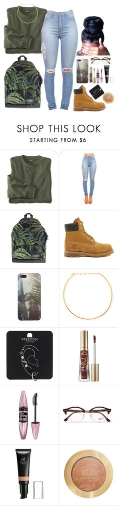 """""""Trying a new format"""" by tomgurl ❤ liked on Polyvore featuring Eastpak, Timberland, Jennifer Zeuner, Topshop, Too Faced Cosmetics, Maybelline, Ray-Ban, e.l.f. and Milani"""