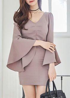 Open Back V Neck Flare Sleeve Sheath Dress  on sale only US$35.84 now, buy cheap Open Back V Neck Flare Sleeve Sheath Dress  at lulugal.com