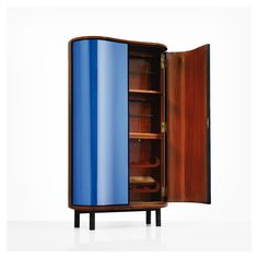 Pietro Chiesa - Blue Chiaro Argentato Cabinet no.0775A for Fontana Arte [mirrorred glass, walnut, ebonized wood, brass, c.1938]