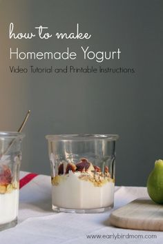How to Make Homemade Yogurt: Video Tutorial and Printable Instructions. *We'd love to see more homemade yogurt recipes! Whole Food Recipes, Cooking Recipes, Healthy Snacks, Healthy Recipes, Yogurt Recipes, Homemade Yogurt, Frugal Meals, Frugal Recipes, Fermented Foods