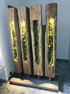 Room divider and lamp Moss Wall Art, Moss Art, Garden Art, Garden Design, House Design, Moss Garden, Wood Lamps, Lamp Design, Woodworking Crafts