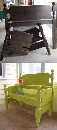 Turn a Bed Headboard into a Bench...awesome Upcycle Ideas! More