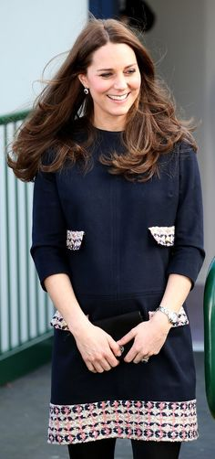 Kate Middleton pulled off navy and black like a pro.