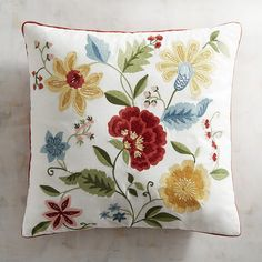 As if plucked from a nearby meadow, our joyful display of embroidered flowers captures nature& beauty stitch by stitch while the vivid colors pop on a field of white cotton piped in red. Cushion Embroidery, Jacobean Embroidery, Embroidered Cushions, Hand Embroidery Patterns, Diy Embroidery, Embroidery Stitches, Machine Embroidery, Embroidered Flowers, Crocheted Flowers