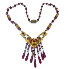 Image of Vintage Czech Art Deco Red Glass Bead Filigree Drop Necklace