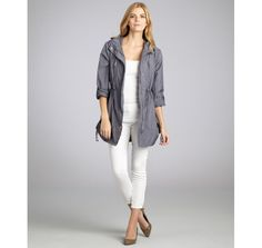 Vince Camuto chambray nylon-poly hooded anorak