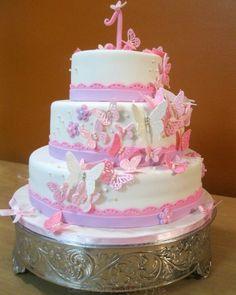Pink & purple butterfly birthday cake