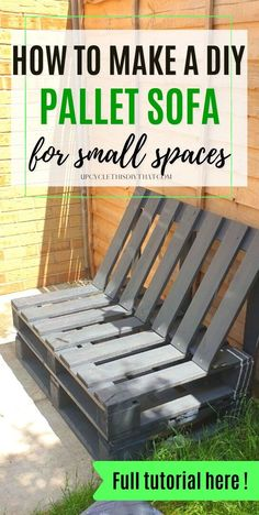 Inexpensive and easy to make, this pallet sofa is perfect for outdoor seating while you enjoy your garden. This post will show you how to make a DIY pallet sofa even if you have only a small space. Here's everything you need to know about building one, including step-by-step instructions with photos plus necessary tools and materials. With these steps, anyone can build their own beautiful outdoor seating area and a perfect pallet sofa frame that is compact and comfortable. Pallet Home Decor, Diy Pallet Sofa, Diy Home Decor, Easy Wood Projects, Outdoor Projects, Outdoor Ideas, Sofas For Small Spaces, Garden Sofa, Deck Decorating
