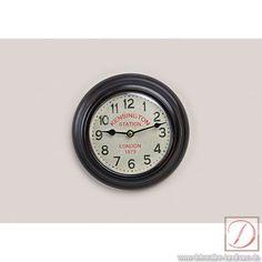 Wanduhr Vintage rund Metall 20cm Kensington - Mit dieser Uhr kommen Sie ganz groß raus, ein Hingucker für Ihr Esszimmer oder im Wohnbereich.