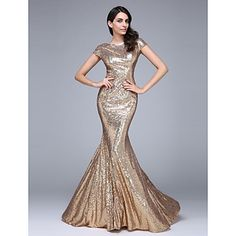 2017+TS+Couture®+Formal+Evening+Dress+Trumpet+/+Mermaid+Bateau+Court+Train+Sequined+with+Sequins+–+USD+$+119.99