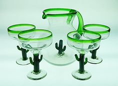 Mexican Glass Margarita Saguaro Cactus Green Rim with Matching Pitcher Set Mexican Margarita Glasses http://www.amazon.com/dp/B01092LXHM/ref=cm_sw_r_pi_dp_EPSXvb0FDAE8N