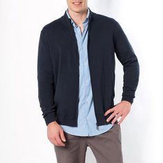 Gilet zippé, pur coton CASTALUNA FOR MEN