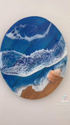 Let me know what you think! Acrylic Resin, Acrylic Art, Diy Wall Art, Diy Wall Decor, Ocean Crafts, Resin Tutorial, Diy Projects For Beginners, Beach Cottage Style, Contemporary Wall Art