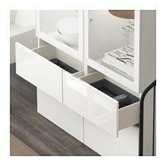 BESTÅ Vitrine, weiß, Selsviken Hochglanz/Klarglas weiß - 120x40x192 cm - Schubladenschiene, Drucksystem - IKEA
