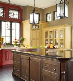 Types of Cabinetry-love the different colors of cabinets and the windows above