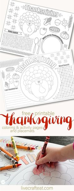 Printable Thanksgiving Placemats For Kids - Free | Live Craft Eat