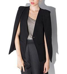 YOLL Women s Open Slit Sleeve Cloak Suit Casual Cape Business Blazer-US  XL Tag 2XL 91806b1c976aa