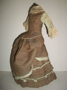 Fabulous antique French fashion doll dress, The dress measures approx. 13 long pieced together. The   jacket measures 5 from the shoulder to the front