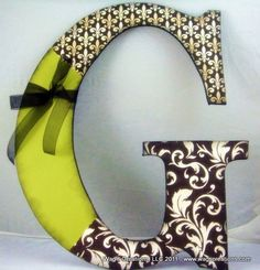 wood letters for crafts ideas | Craft Ideas / wood letter craft - ribbon, paint, craft paper, modge ...