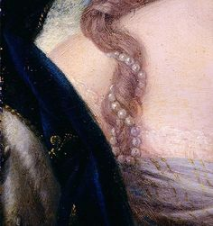 Detail from a portrait of Marie Antoinette by an unknown artist, circa 1775.