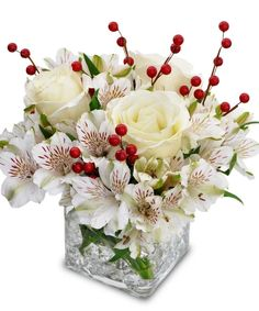 "FROSTED BERRIES  Our 4"" cube brings the crisp feel of Winter in doors to create a stunning white arrangement with faux red berries as an accent."
