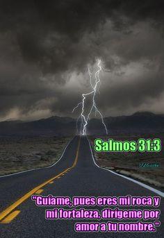 """- Salmos 31:3 - """"Guíame, pues eres mi roca y mi fortaleza, dirígeme por amor a tu nombre."""""""
