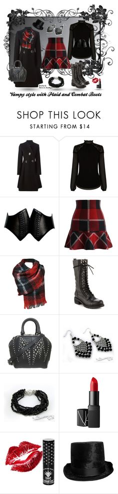 """""""Vampy Plaid and Combat boots with jewelry - Handmade Jewelry by Ooh-la-la Beadtique"""" by ooh-la-la-beadtique ❤ liked on Polyvore featuring STELLA McCARTNEY, Warehouse, Alaïa, Chicwish, Black Rivet, Kelsi Dagger Brooklyn, Alexander Wang, NARS Cosmetics and Manic Panic"""
