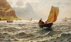 Genre Paintings by Hans Dahl Norwegian Artist...Upon Sunny Waves