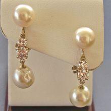 Heavenly Dangling 14k Cultured/Freshwater Pearl DIAMOND Earrings - .75tcw