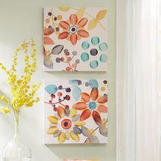 Intelligent Design 2-piece ''Sweet Florals'' Canvas Wall Art Set