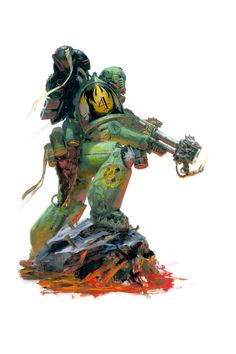 Space Marine of the Salamanders Chapter armed with their trademark flamer. Artist – Paul Dainton Released – 2012