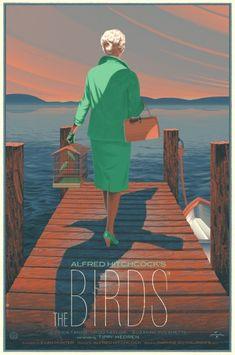 """""""The Birds""""  Nuevos pósters Mondo de películas de Hitchcock: 'Los Pájaros', 'Vértigo' y 'La Ventana Indiscreta'"""