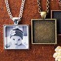 DiY Photo Jewelry Kit, Make Cute Photo Pendants - 1 inch Square Bezel Blanks Kit Jewelry Making Kits, Jewelry Kits, Jewelry Crafts, Jewelry Ideas, Moon Jewelry, Resin Jewelry, Pendant Jewelry, Jewellery, Craft Kits