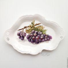 Купить Роспись фарфора Фруктовница Виноград - роспись фарфора, роспись по фарфору, фруктовница, блюдо для фруктов