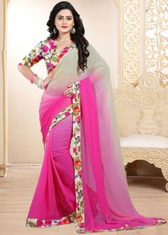 Pink & Beige Chiffon Pading Printed saree