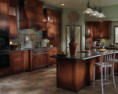Great Maple Cabinets Blended With Stainless Steel Appliances And A Slate Floor  Give This Kitchen A Mix Nice Ideas