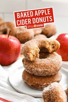 A classic fall favorite, these apple cider donuts are coated in cinnamon sugar and baked - not fried! In less than an hour they'll be ready to eat and your kitchen will smell heavenly.   cider donuts   cider doughnuts   baked cider donuts   stressbaking.com @stressbaking #stressbaking #donuts #doughnuts #fall #newengland Dump Cake Recipes, Donut Recipes, Apple Recipes, Baking Recipes, Sweet Breakfast, Breakfast Dessert, Breakfast Recipes, Fall Dessert Recipes, Fall Recipes