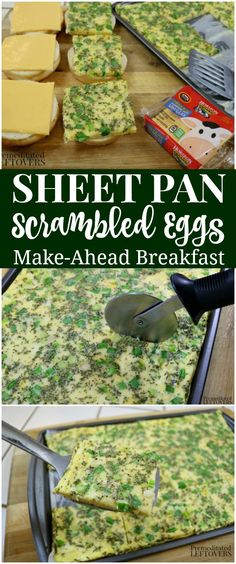 This quick and easy recipe for Sheet Pan Scrambled Eggs is perfect for busy mornings. These make-ahead eggs can also be made into an egg muffin sandwich. Simple Sheet Pan Eggs Recipe and make-ahead breakfast sandwich recipe.