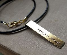 Personalized Date Necklace. Leather Cord Mens by NadinNecklaces, $29.00