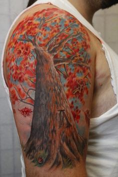 Autumn Tree Half Sleeve - 40 Unforgettable Fall Tattoos  <3 <3