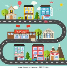 Small town urban landscape in flat design style, vector illustration. With small business, buildings, roads, cars, trees, street with people, candy shop, barber shop, supermarket, books store etc - stock vector