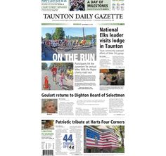 The front page of the Taunton Daily Gazette for Monday, Sept. 28, 2015.